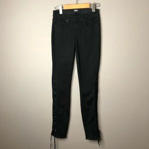 Paige Wyatt skinny black lace up jeans size 24